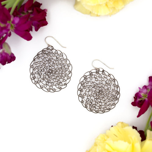 Large Woven Mandala Earrings