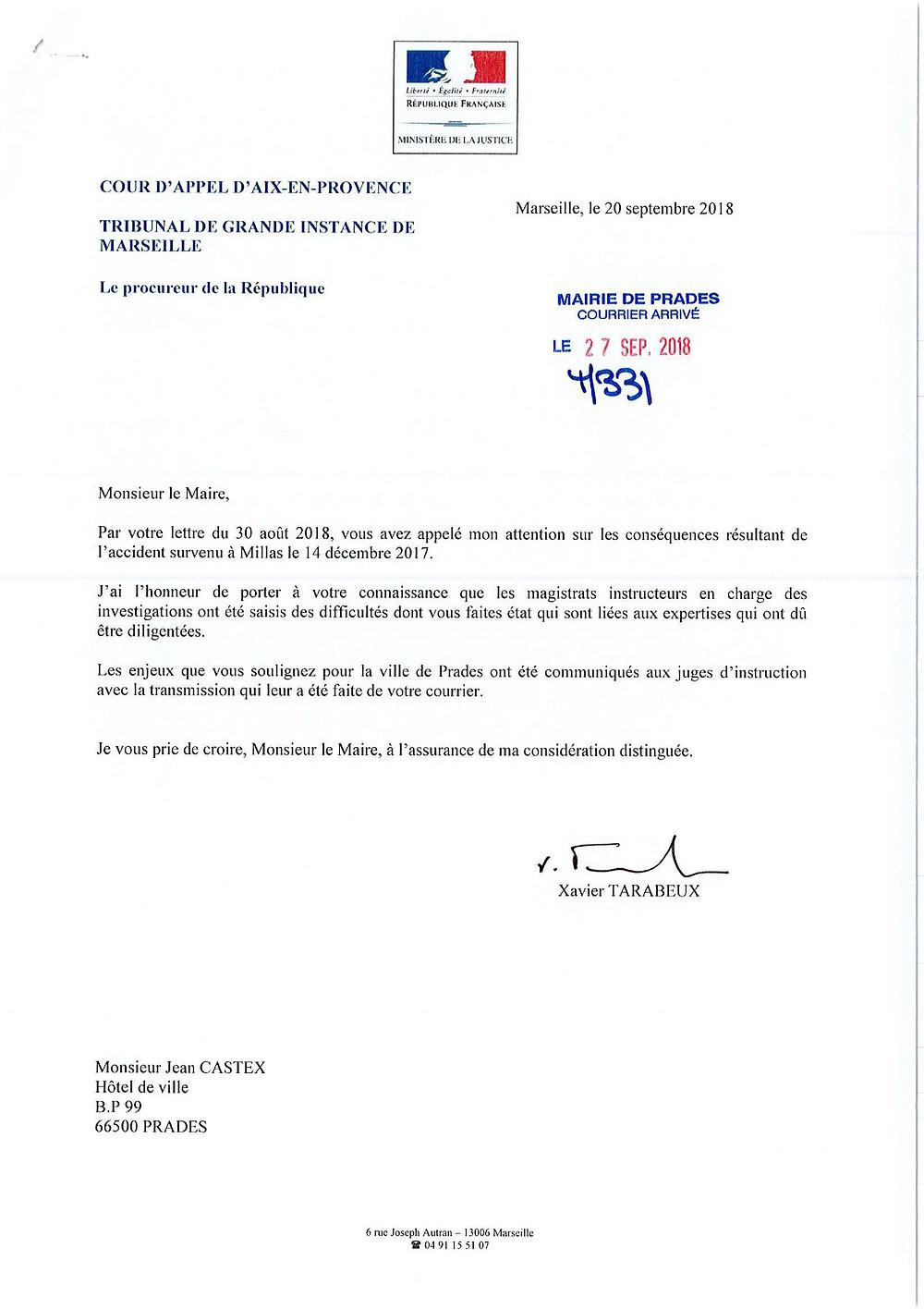 Réponse de M. le Préfet à J.CASTEX à propos du Train Jaune