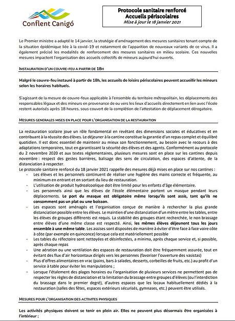 Protocole sanitaire renforcé MAJ 18 janv