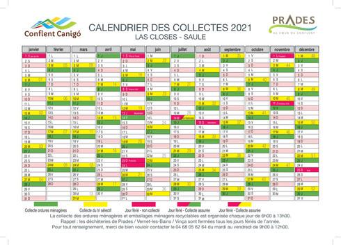 calendrier 2021- PRADES-LAS CLOSES-SAULE
