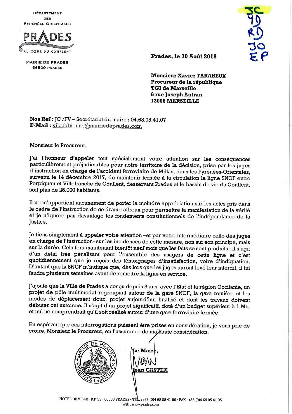 courrier de J.CASTEX à M. le Préfet concernant le Train Jaune