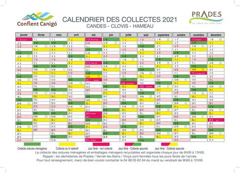 calendrier 2021- PRADES CANDES CLOVIS HA
