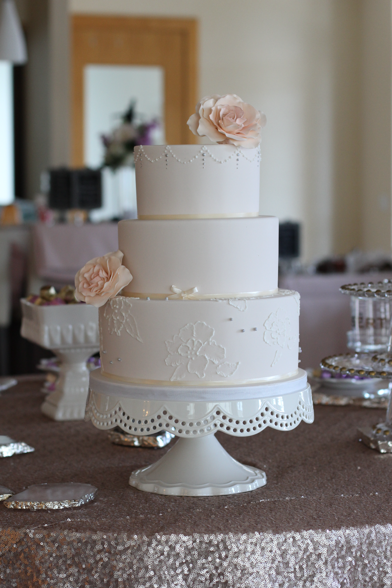 Brush Embroidered Lace Cake