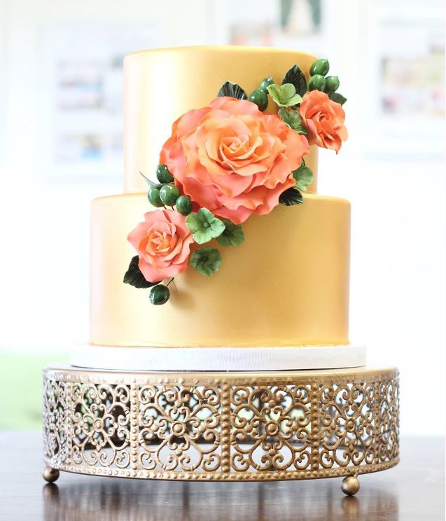 Gold d and Peach Sugar Flowers