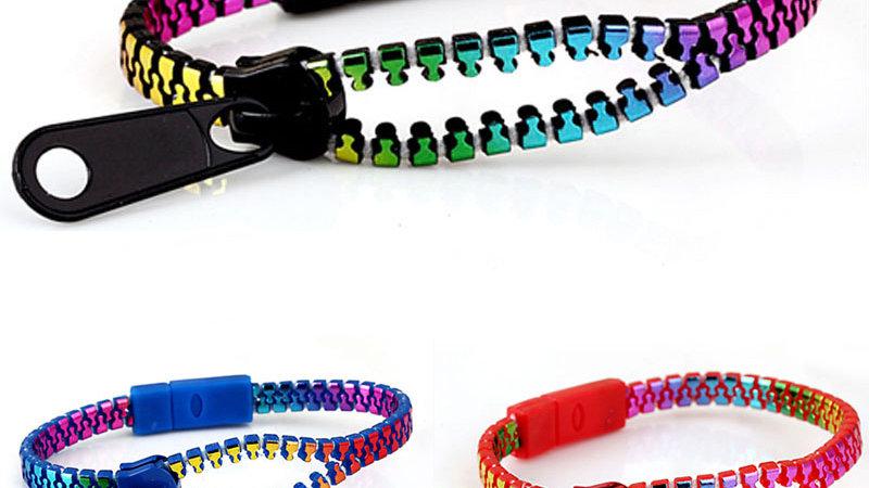 Metal Zipper Bracelets - Fluorescent Mermaid Colours