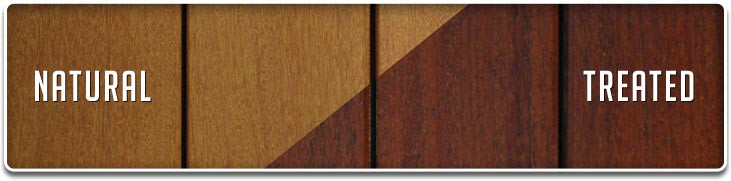 Deckwise Natural vs. Treated Example Ipe Oil Hardwood Deck Finish at SF Paint Source in San Francisco paint store