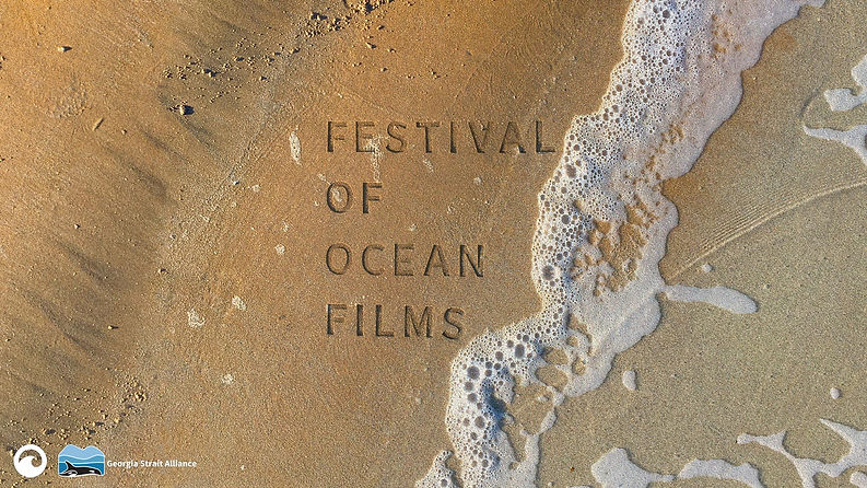 Festival of Ocean Films pressed into sand with water crashing into the right hand corner