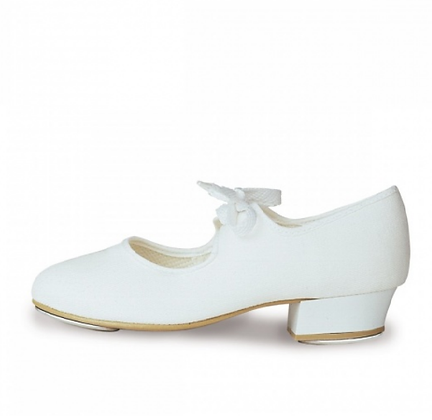 White Canvas Tap Shoes - Girls