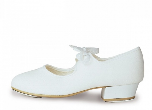 Girls White Canvas Tap Shoes