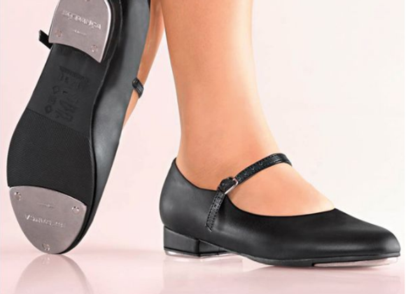 Girls Black Buckle Tap Shoes