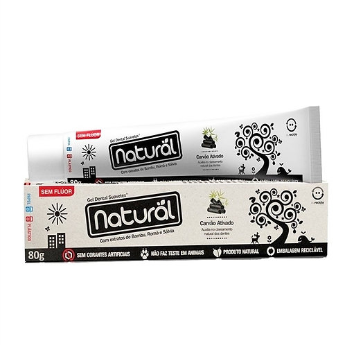 Gel Dental Natural com Carvão Ativado, extratos de Bambu, Romã e Sálvia 80g