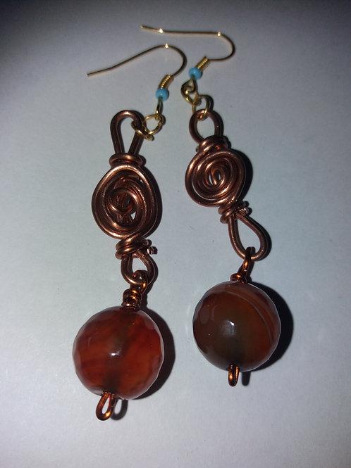 Handmade Fire Agate Copper Wire Earrings