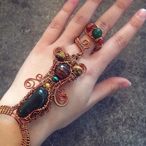 Copper Wire Weave Hand Adornment with Bloodstone,Tigers Eye,Fire Agate,Malachite