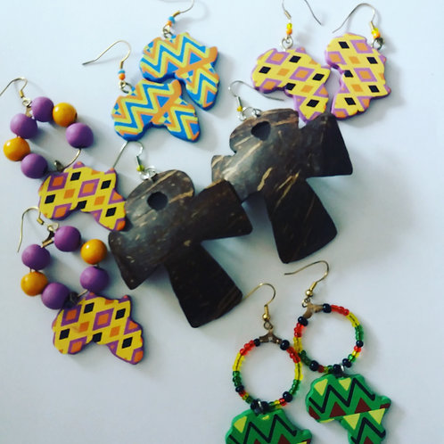 Handmade Wooden & Coconut Shell Earrings