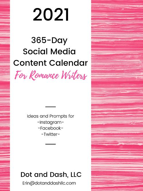 2021 Social Media Content Calendar for Romance Writers