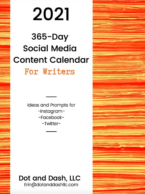 2021 Social Media Content Calendar for Writers