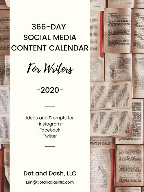 SALE! Social Media Content Calendar for Writers 2020
