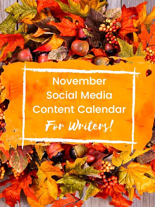 November Social Media Calendar for Authors | Hashtag List | Canva Templates