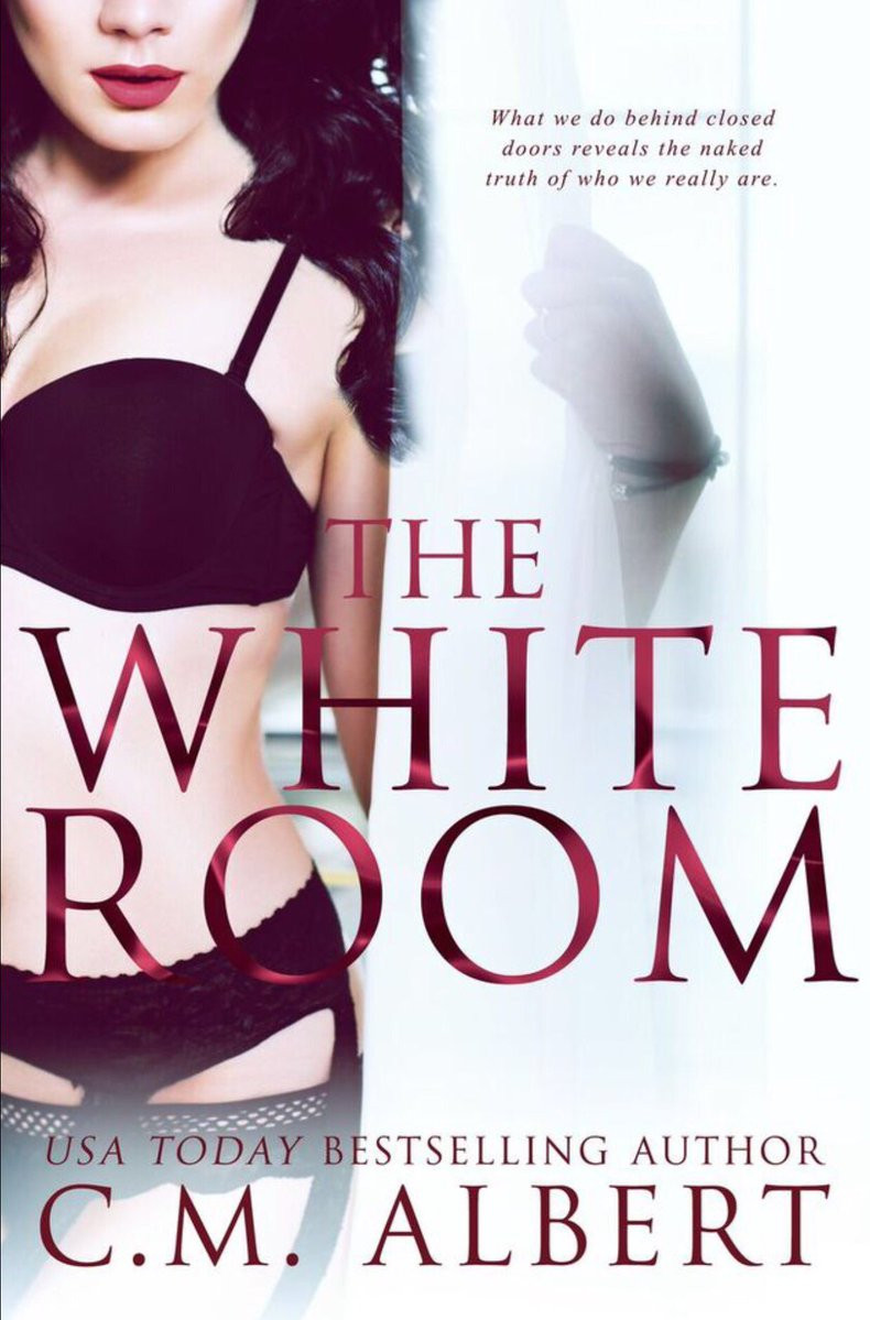 Cover of The White Room book has a woman with brown hair and red lips wearing black lingerie