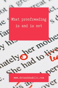 "red proofreader marks on text with the title ""What proofreading is and is not"""