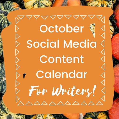 October Social Media Calendar for Authors