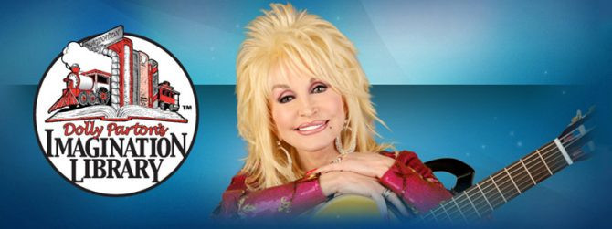 Dolly Parton and the logo for her charity