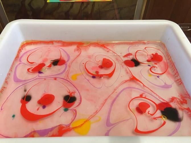 Poppy Flower Paper Marbling for Remembrance Day
