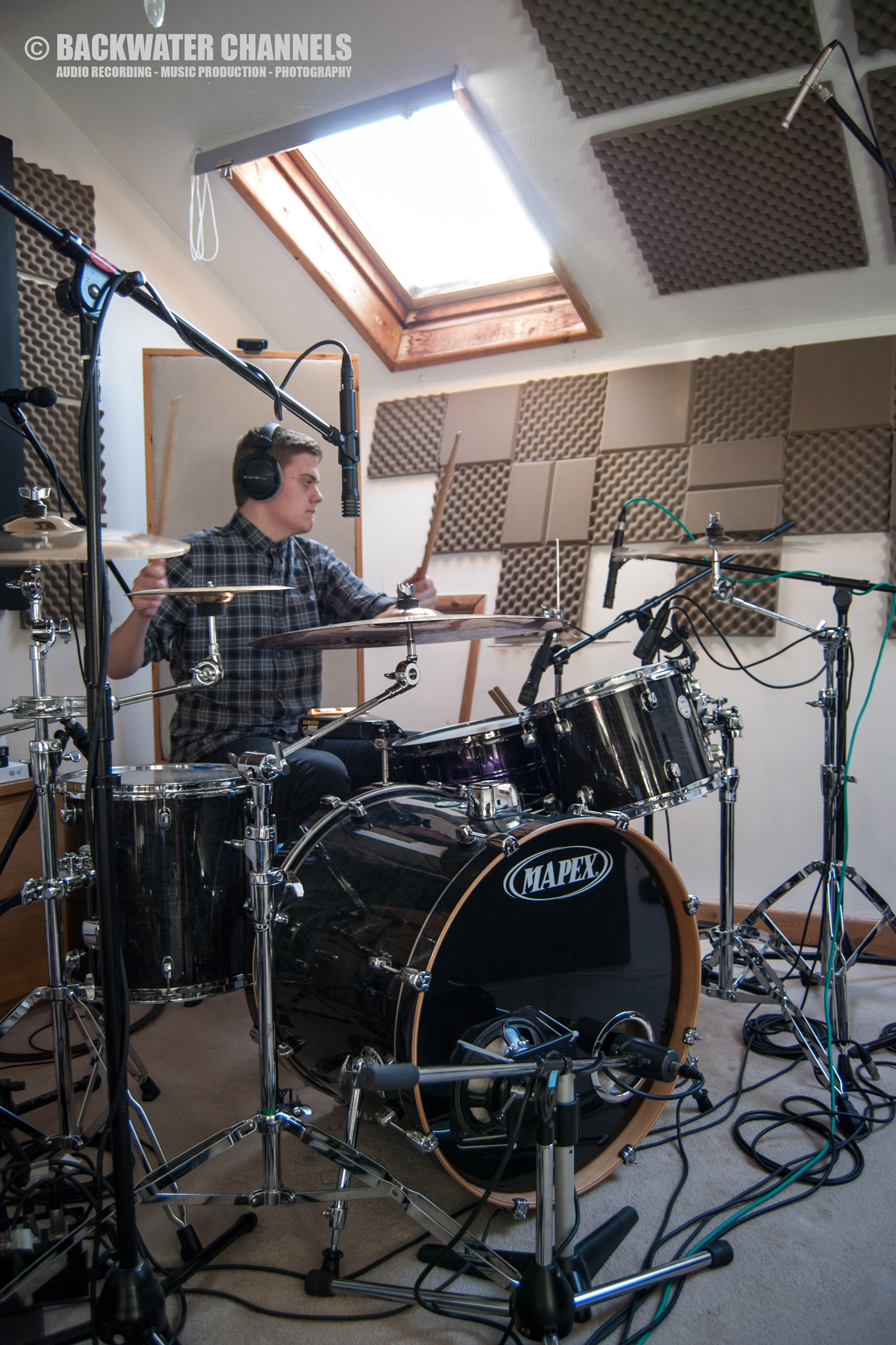 Backwater Channels Recording Studio, Benfleet, Southend, Essex - Drum Recording