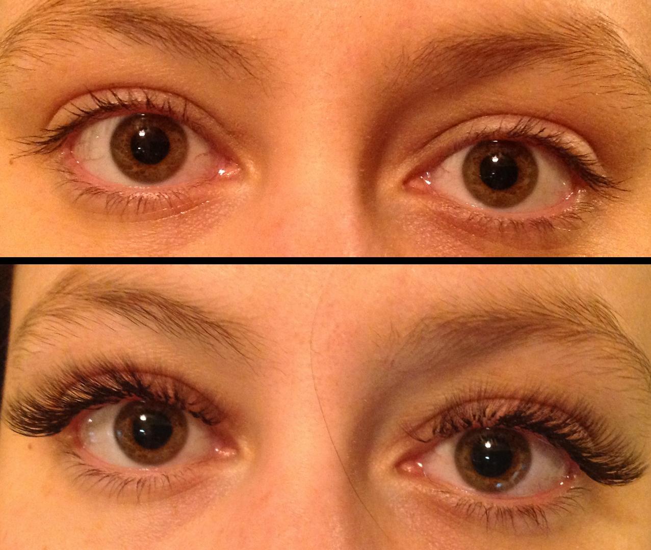 Extensions de cils (avant/après)