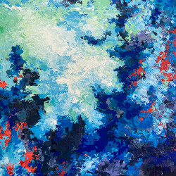 Composition in blue and red