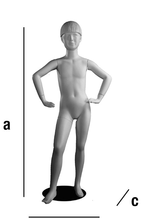 Maniquí niño con cabeza. Leo. 130 cm