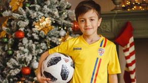 Ionuț Darie, jucătorul echipei de copii CSCT Buiucani, în ospeție la TVR Moldova