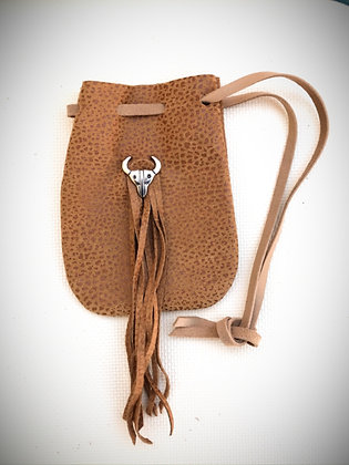 Light Brown Soft Drawstring Pouch