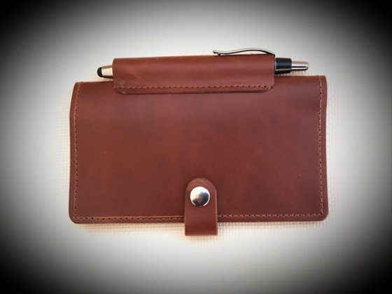 Leather Checkbook Cover in Warm Brown