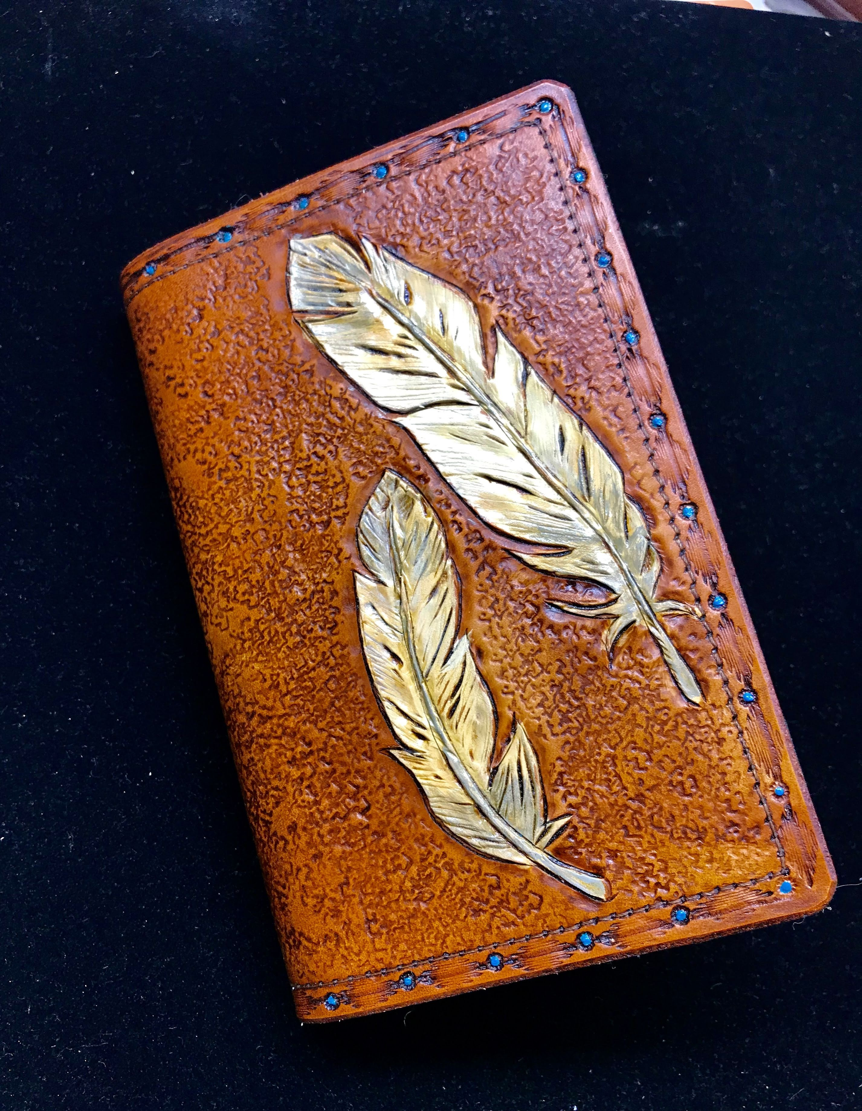 Hand Carved Leather Feather Journal