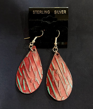 Red Teardrop Earrings w/ Turquoise Highlights
