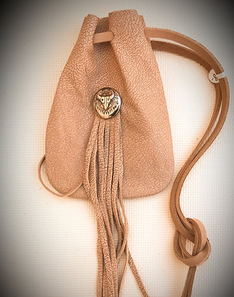 Beige Leather Drawstring Pouch