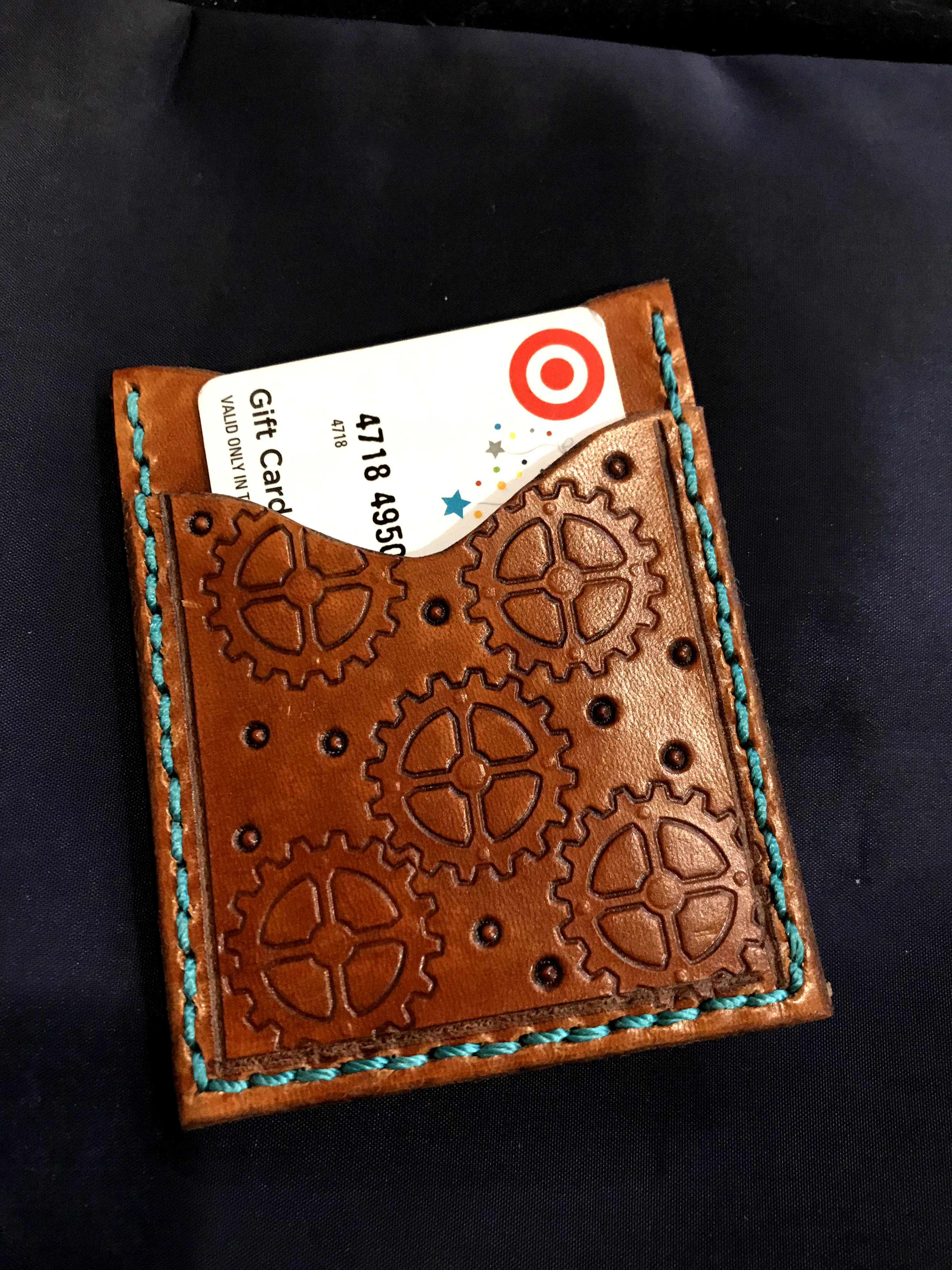 Steampunk Leather Minimalist Wallet