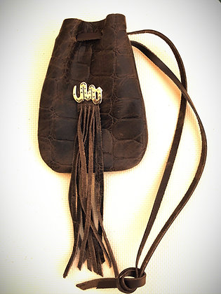 Dark Brown Leather Drawstring Pouch