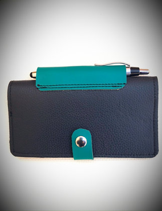 Leather Checkbook Cover in Navy & Turquoise