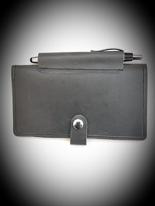 Leather Checkbook Cover in Grey