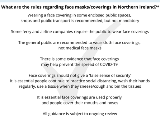What are the rules regarding face masks/coverings in Northern Ireland?