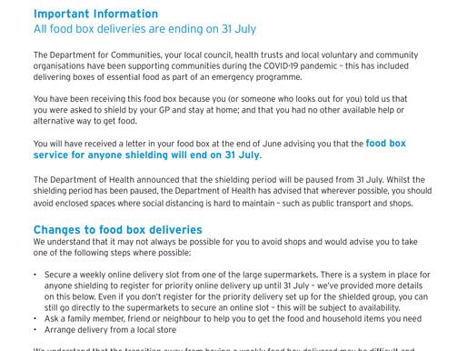 Update Food Box Scheme Ends 31 July