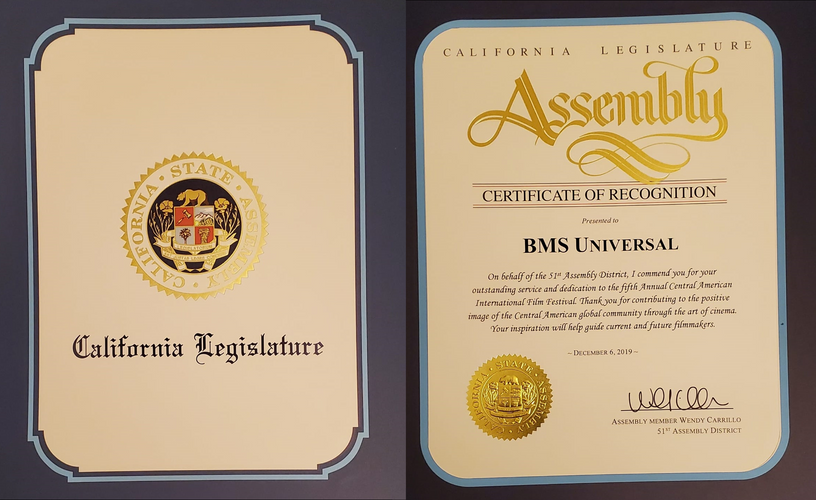 Certificate of Recognition For Bms Universal - Thanks to California Legistrature.