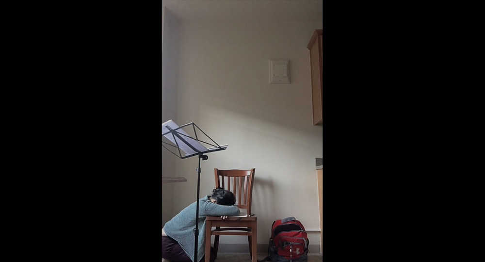"May 2020. Scene from ""Poems in Practice Rooms,"" film by flutist & writer Theresa Seguritan Abalos."