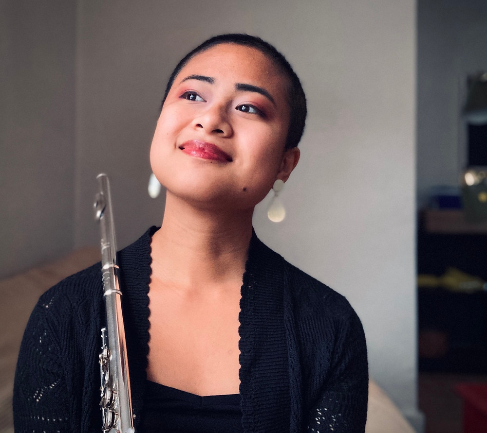 Theresa Abalos flutist. 2020. Earrings by Blessing Baubles Co.
