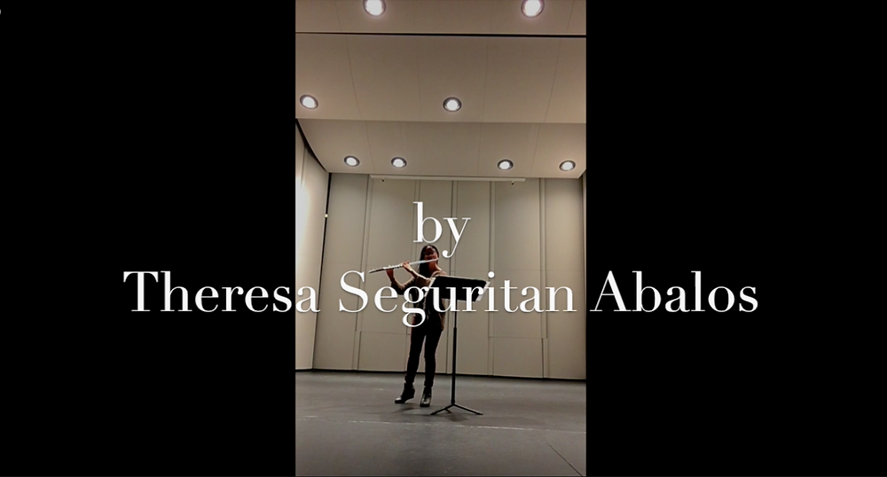 "Opening scene of ""Poems in Practice Rooms"" by flutist & writer Theresa Seguritan Abalos."
