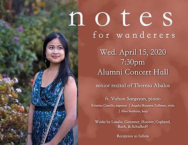 Theresa Abalos senior flute recital, Carnegie Mellon University. 2020.