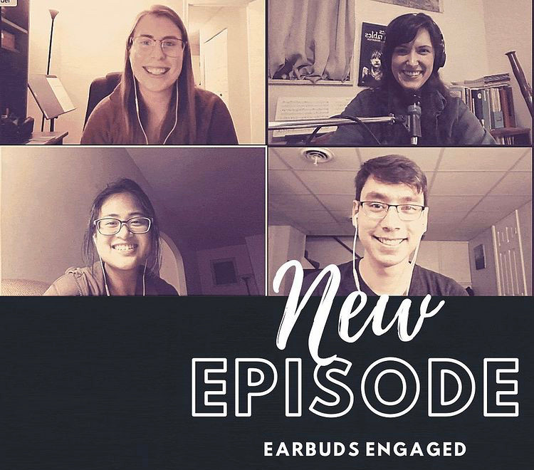 Ears Engaged has a podcast called Earbuds Engaged. Pictured are musicians Alaina Chester, Casey Stamm, Theresa Abalos, & Christopher Corbett.