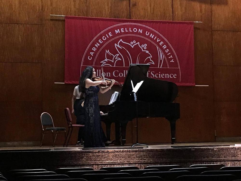 Veronica Lopez, viola, performing her junior recital in Mellon Auditorium in 2018.